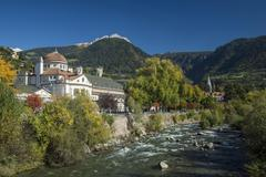 Spa hotel River Passer Merano or Meran South Tyrol Italy Europe - stock photo