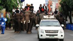 People ride elephants at the Elephant parade in Surin, Thailand. Stock Footage