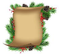 Scroll paper with spruce branches and red berries Stock Illustration