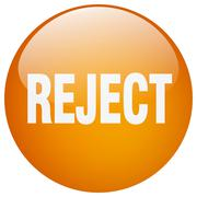 reject orange round gel isolated push button - stock illustration