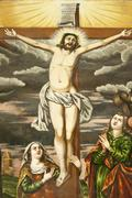 Stock Photo of Armenian Apostolic Church Mural scene from the New Testament the crucifixion of