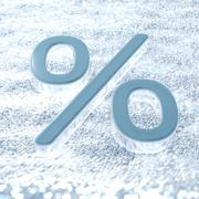 A percent symbol on a fresh snow that symbolizes winter promotions Stock Illustration