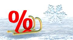 A percent symbol on Santa Claus sleigh that symbolizes winter promotions - stock illustration