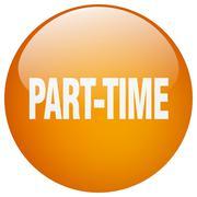 part-time orange round gel isolated push button - stock illustration