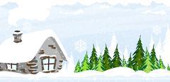 Snow covered hut - stock illustration