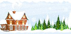Snow-covered Farmhouse Stock Illustration