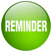 reminder green round gel isolated push button - stock illustration