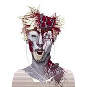 Zombie portrait - stock illustration