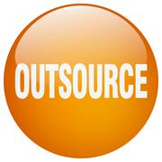 Outsource orange round gel isolated push button Stock Illustration