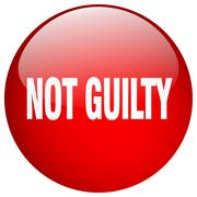 not guilty red round gel isolated push button - stock illustration