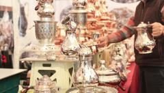 Copper, silver kitchenware  at grand bazaar in Istanbul Stock Footage