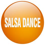 salsa dance orange round gel isolated push button - stock illustration