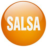 salsa orange round gel isolated push button - stock illustration