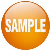 sample orange round gel isolated push button - stock illustration