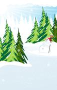 Snowman in a snow covered pine forest - stock illustration