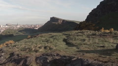 Aerial footage flying over Arthurs Seat in Edinburgh Stock Footage