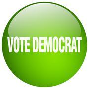 Vote democrat green round gel isolated push button Piirros
