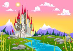 Fantasy mountain landscape with medieval castle - stock illustration