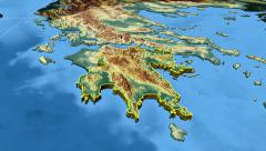 Peloponnisos - Greece region extruded. Bumps shaded Stock Footage