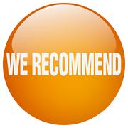 we recommend orange round gel isolated push button - stock illustration