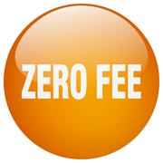 Zero fee orange round gel isolated push button Stock Illustration