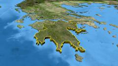 Peloponnisos - Greece region extruded. Satellite Stock Footage