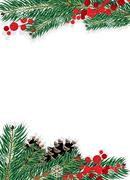 Spruce branches and red berries Stock Illustration