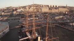 Cinematic aerial shot of the Discovery ship in Dundee Stock Footage