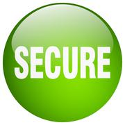 Stock Illustration of secure green round gel isolated push button