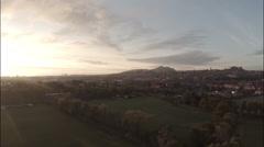 Aerial shot in Inverleith park, Edinburgh during sunrise Stock Footage