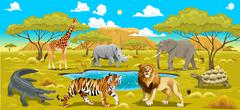 Stock Illustration of African landscape with animals