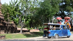 Traveler riding elephant for tour around Ayutthaya ancient city - stock footage