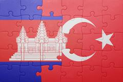 Stock Photo of puzzle with the national flag of turkey and cambodia