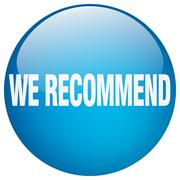 we recommend blue round gel isolated push button - stock illustration