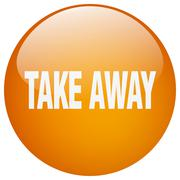 Take away orange round gel isolated push button Stock Illustration