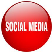 Stock Illustration of social media red round gel isolated push button