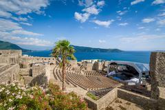Kanli Kula fortress amphitheater and concert stage - stock photo
