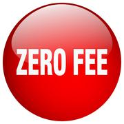 zero fee red round gel isolated push button - stock illustration