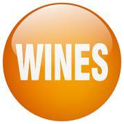 wines orange round gel isolated push button - stock illustration