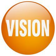 vision orange round gel isolated push button - stock illustration