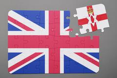 Puzzle with national flag of great britain and northern ireland piece detache - stock photo