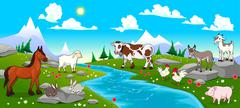 Mountain landscape with river and animals - stock illustration