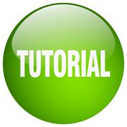 Tutorial green round gel isolated push button Stock Illustration