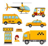 Different types of taxi transport. Cars, helicopter, van truck, bike and Stock Illustration