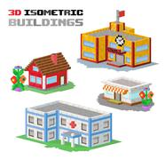 Stock Illustration of Buildings vector illustration shop, hospital, school, family house