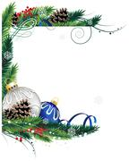 Stock Illustration of Blue and silver Christmas ornaments