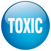 toxic blue round gel isolated push button - stock illustration