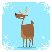 Happy cartoon Christmas Reindeer - stock illustration