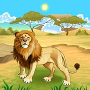 Stock Illustration of African landscape with lion king.