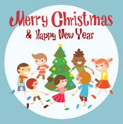 Children round dancing Christmas tree in baby club illustration - stock illustration